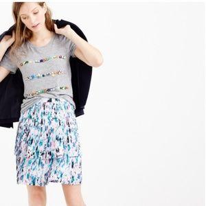 J. Crew   pleated skirt in watercoler floral